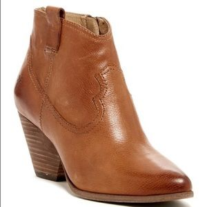 Frye Reina Camel Leather Ankle Booties Size 7